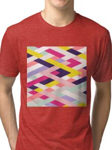 Smart Diagonals Blue Tri-blend T-Shirt