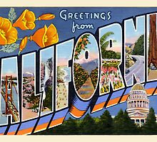 Greetings From California Vintage Postcard Sticker by ukedward