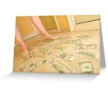 Woman's legs walking on Us dollars banknotes on floor. Greeting Card