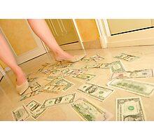 Woman's legs walking on Us dollars banknotes on floor. Photographic Print