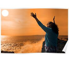 silhouette of lone woman facing a powerful  giant wave in sunshine Poster