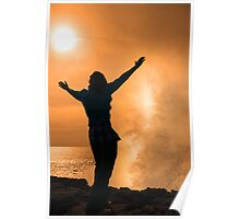 silhouette of lone woman facing a powerful wave in sunshine Poster