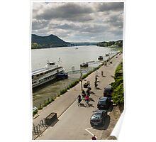 Cycle ride on the Rhine Promenade, Bonn Bad Godesberg, NRW, Germany. Poster