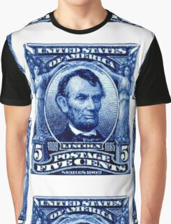 USA Abraham Lincoln Postage Stamp Graphic T-Shirt