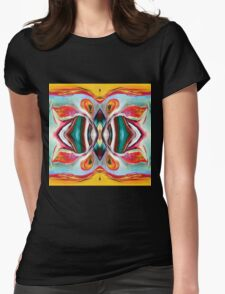 Manic Butterfly - Funky Abstract Art Womens Fitted T-Shirt