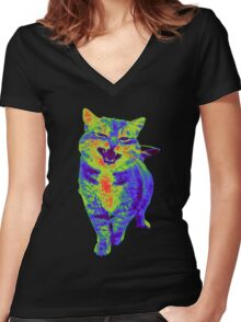 Psychedelic Cat Women's Fitted V-Neck T-Shirt