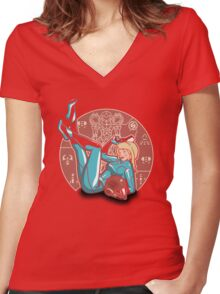 Power-up Pin-up- Metroid Shirt Women's Fitted V-Neck T-Shirt
