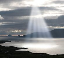 skellig rocks sun beams by morrbyte