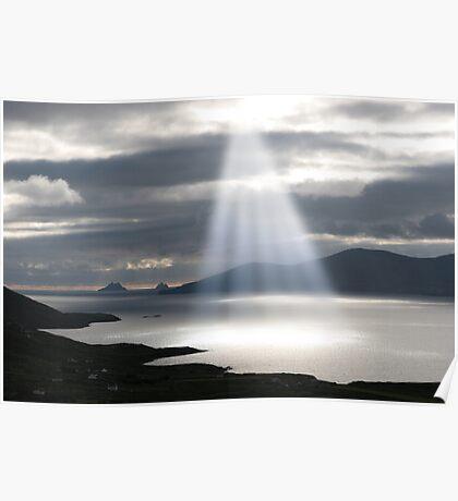 skellig rocks sun beams Poster