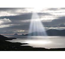 skellig rocks sun beams Photographic Print