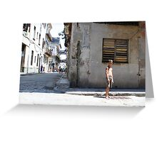 Kids play in a Havana back street Greeting Card