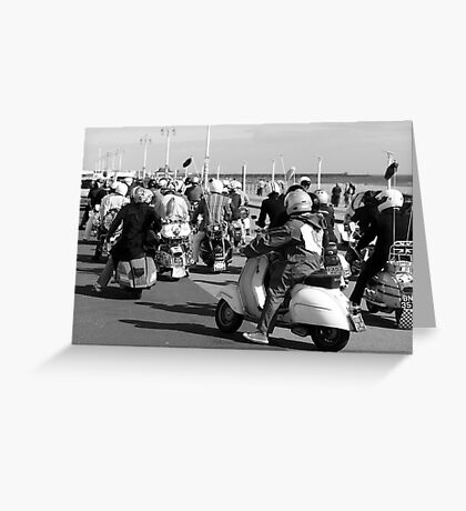Mods ready for a rideout in Brighton. Greeting Card