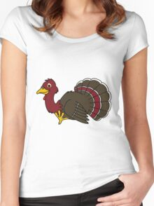 Thanksgiving Turkey with Red Feathers Women's Fitted Scoop T-Shirt