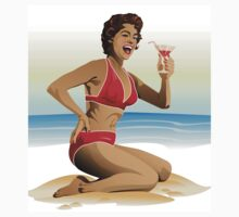 T-Shirt summer pin-up with cocktail by Medusa81