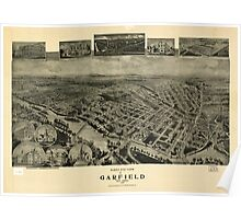 Panoramic Maps Birds eye view of Garfield New Jersey 1909 Poster