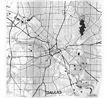 Dallas Map Gray Poster