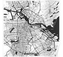 Amsterdam Map Gray Poster