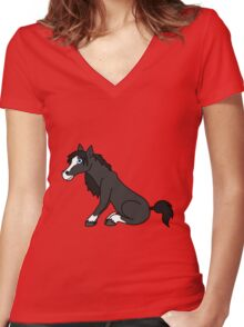 Black Horse with Blaze Women's Fitted V-Neck T-Shirt