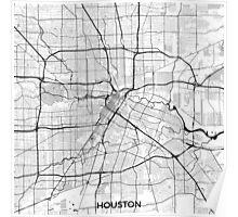 Houston Map Gray Poster