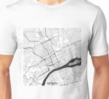 Detroit Map Gray Unisex T-Shirt