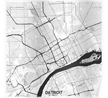 Detroit Map Gray Poster