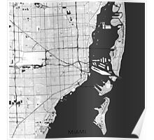 Miami Map Gray Poster