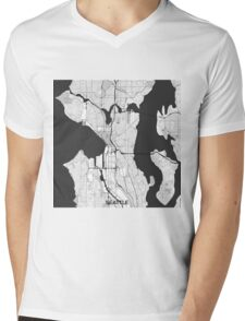 Seattle Map Gray Mens V-Neck T-Shirt