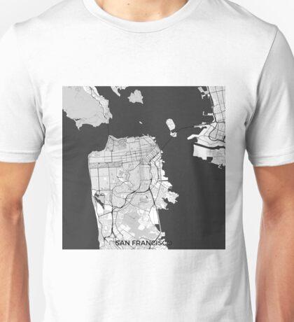 San Francisco Map Gray Unisex T-Shirt