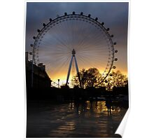 London Eye with the sky on fire Poster