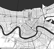 New Orleans Map Gray by HubertRoguski