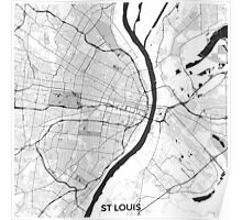St Louis Map Gray Poster