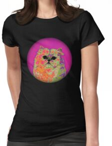 Psychedelic Cat II Womens Fitted T-Shirt
