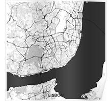 Lisbon Map Gray Poster