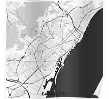 Barcelona Map Gray Poster