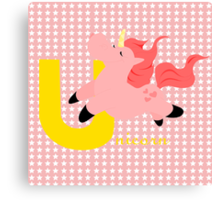 u for unicorn Canvas Print