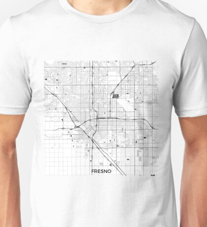 Fresno Map Gray Unisex T-Shirt