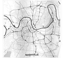 Nashville Map Gray Poster