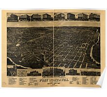 Panoramic Maps Fort Worth Tex ''The Queen of the Prairies'' county seat of Tarrant County 1886 Poster