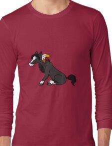 Thanksgiving Black Horse with Turkey Feathers Long Sleeve T-Shirt