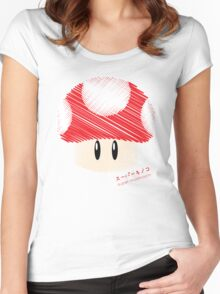 super mushroom -scribble- Women's Fitted Scoop T-Shirt
