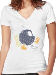 bob-omb -scribble- Women's Fitted V-Neck T-Shirt