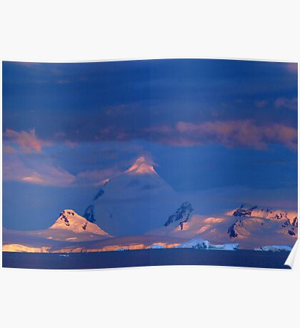 Sunset over Ice , Antarctica Poster