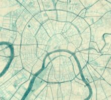 Moscow Map Blue Vintage Sticker