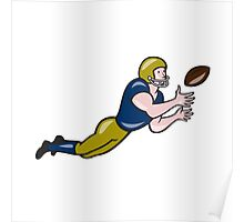 American Football Receiver Catching Ball Cartoon Poster