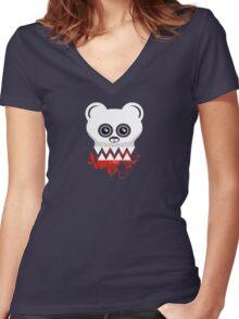 BEAR SKULL Women's Fitted V-Neck T-Shirt