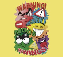 Warning Frequent Mood Swings Cartoon Faces Baby Tee