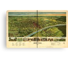 Panoramic Maps Waco Texas 1892 Canvas Print