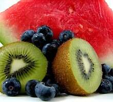 Watermelon, Kiwi Fruit with Blueberries by LifeisDelicious