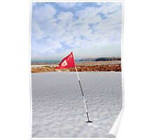snow covered golf course and cliffs with flag Poster