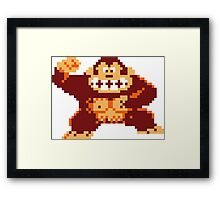 Donkey Kong Pixelated Framed Print